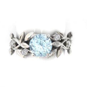 Leaf Design Silver Wedding / Engagement Ring